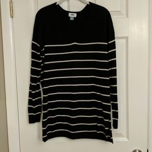 Old Navy Tunic Sweater Black & Tan Stripe